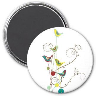 Whimsical Summer Birds Swirls Modern Nature Vines Magnet