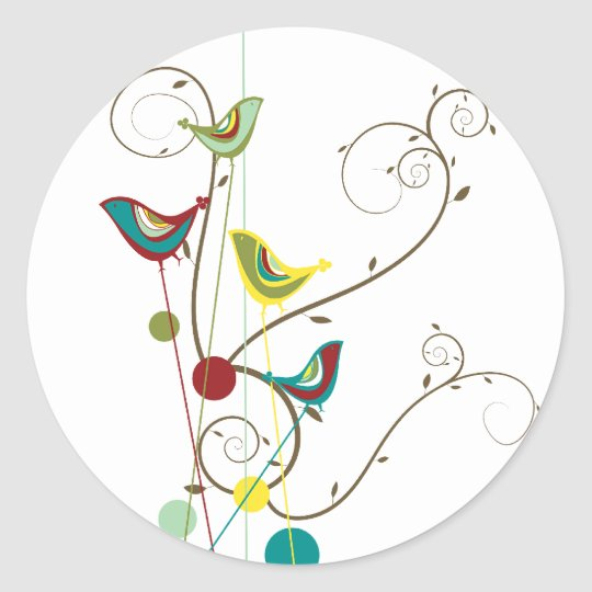 Whimsical Summer Birds Swirls Modern Nature Vines Round Sticker