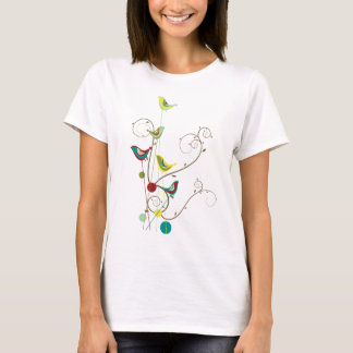 Whimsical Summer Birds Swirls Modern Nature Vines T-Shirt