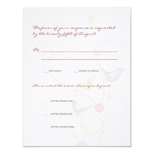 Whimsical Summer Birds & Swirls Wedding RSVP Card