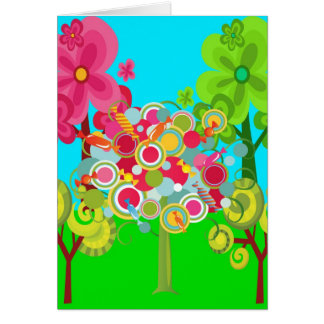 Whimsical Summer Lollipop Tree Colorful Forest Card