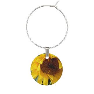 Whimsical Sunflower Wine Charm