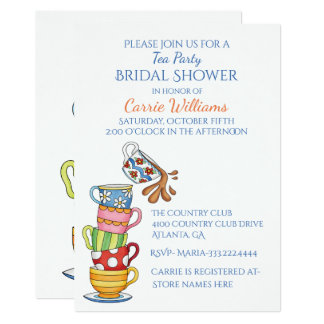 Whimsical Tea Cups Bridal Shower Invitation