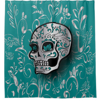 Whimsical Teal and Printed Silver Sugar Skull Shower Curtain