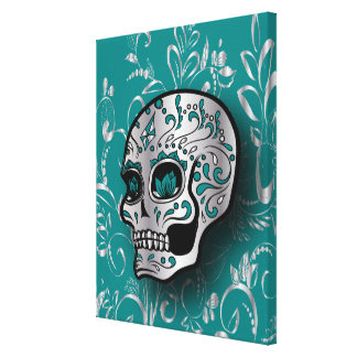 Whimsical Teal and Silver Sugar Skull Canvas Print