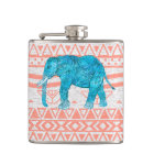 Whimsical Teal Paisley Elephant Pink Aztec Pattern Hip Flask