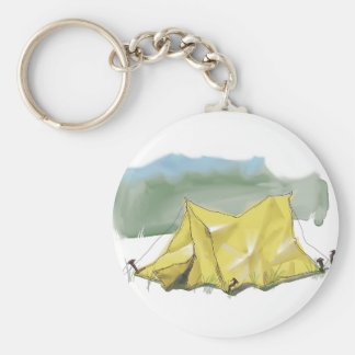 Whimsical Tent Illustration Keychain
