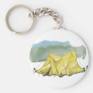 Whimsical Tent Illustration Keychain