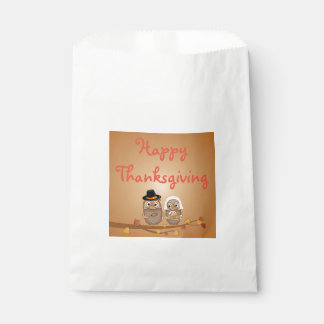 Whimsical Thanksgiving Owls Favour Bag