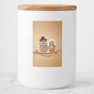 Whimsical Thanksgiving Owls Food Label