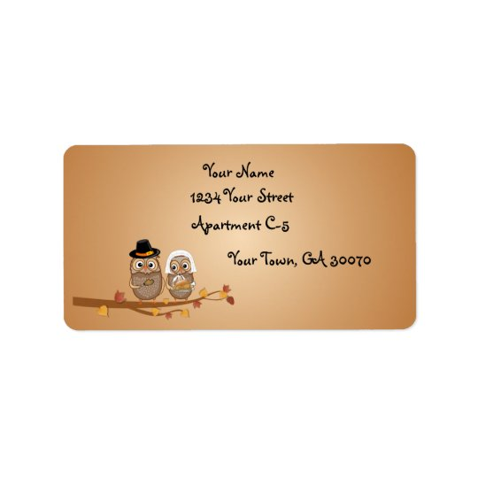 Whimsical Thanksgiving Owls Label