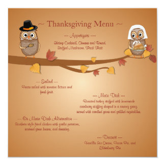 Whimsical Thanksgiving Owls Thanksgiving Menu Card