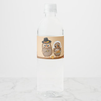 Whimsical Thanksgiving Owls Water Bottle Label