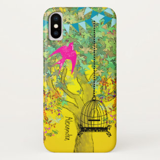 Whimsical Tree Birdcage Colorful Musical Tree iPhone X Case