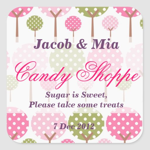 Whimsical Tree Candy Shoppe Sticker