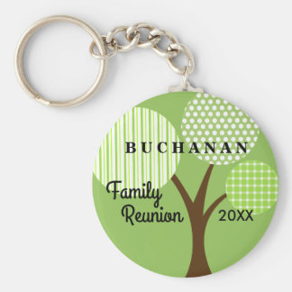 Whimsical Tree Family Reunion Dated Souvenir Gift Basic Round Button Key Ring