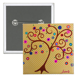 WHIMSICAL TREE OF LIFE PAINTING 15 CM SQUARE BADGE