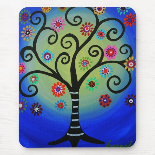 Whimsical Tree of Life Painting Mousepad