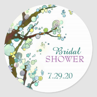Whimsical Tree Themed White Bridal Shower Round Sticker