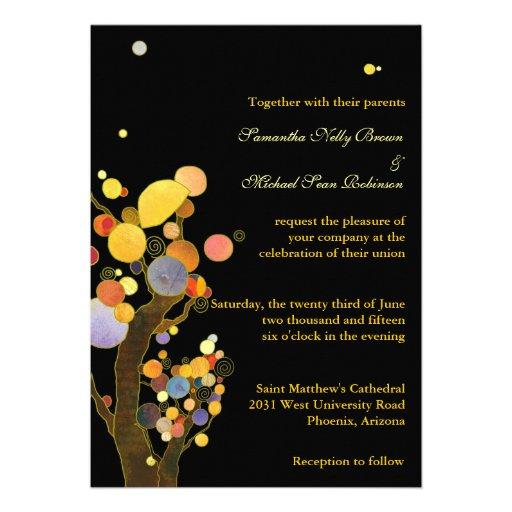 Whimsical Trees Black Wedding Invitations