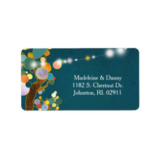 Whimsical Trees Teal Wedding Address Address Label