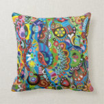 Whimsical Tribal Abstract Art Pillow