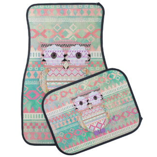 Whimsical Tribal Owl Pastel Girly Tie Dye Aztec Car Mat