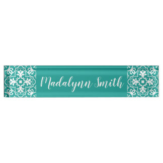 Whimsical Type Geometric Pattern - CAN EDIT COLOR Nameplate