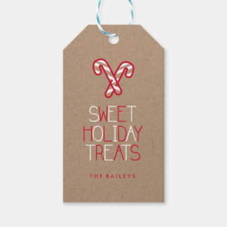 Whimsical Typography red and white candy cane Gift Tags