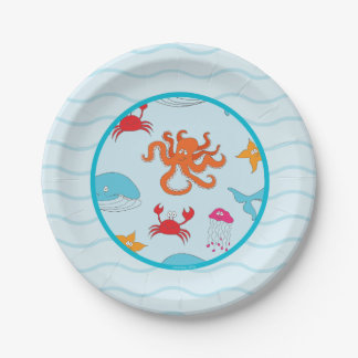 "Whimsical Under the Sea paper plate 7"" 7 Inch Paper Plate"