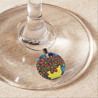 Whimsical Vase Flowers Wine Charm