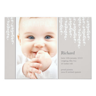 Whimsical Vines Birth Announcement Gray Card