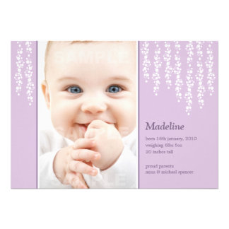Whimsical Vines Birth Announcement Lilac Card
