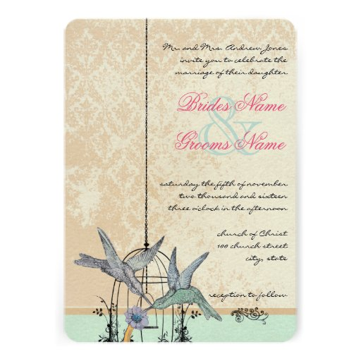 Wedding Invitations Birdcage: Romantic Vintage Hummingbird Birdcage Wedding 13 Cm X 18