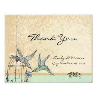 Whimsical Vintage Bird Cage Wedding Reception Card