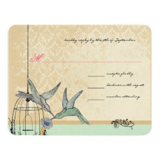 Whimsical Vintage Bird Cage Wedding RSVP Card