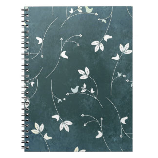 Whimsical Vintage Pattern with Birds and Leaves Notebook