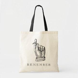 Whimsical Vintage Remember String on Finger Budget Tote Bag