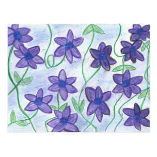 Whimsical Water-Color Violet-Lilies River PostCard
