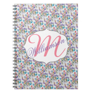 WHIMSICAL WATERCOLOR FLORAL PATTERN NOTEBOOK