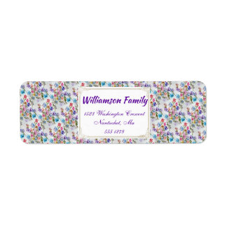 WHIMSICAL WATERCOLOR FLORAL PATTERN RETURN ADDRESS LABEL