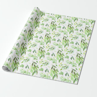 Whimsical Watercolor Foliage Pattern Wrapping Paper