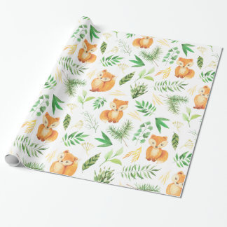 Whimsical Watercolor Foxes and Green Leaves | Wrapping Paper