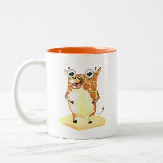 Whimsical Watercolor Giraffe Collectible Two-Tone Coffee Mug