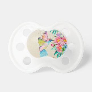 Whimsical watercolor hummingbird and flowers dummy