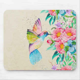 Whimsical watercolor hummingbird and flowers mouse pad