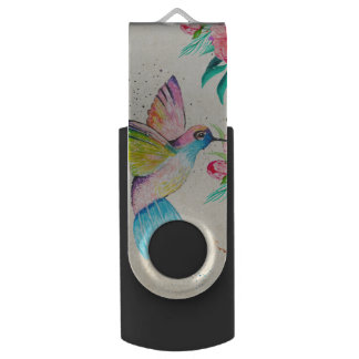 Whimsical watercolor hummingbird and flowers USB flash drive