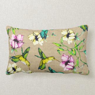 Whimsical Watercolor Hummingbirds & Flowers Lumbar Cushion