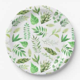 Whimsical Watercolor Leaves Greenery | Paper Plate