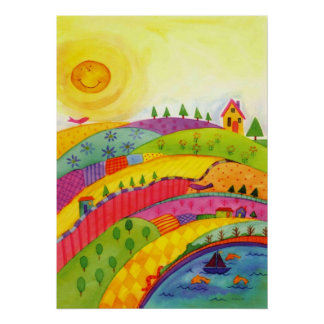 whimsical watercolor painting poster